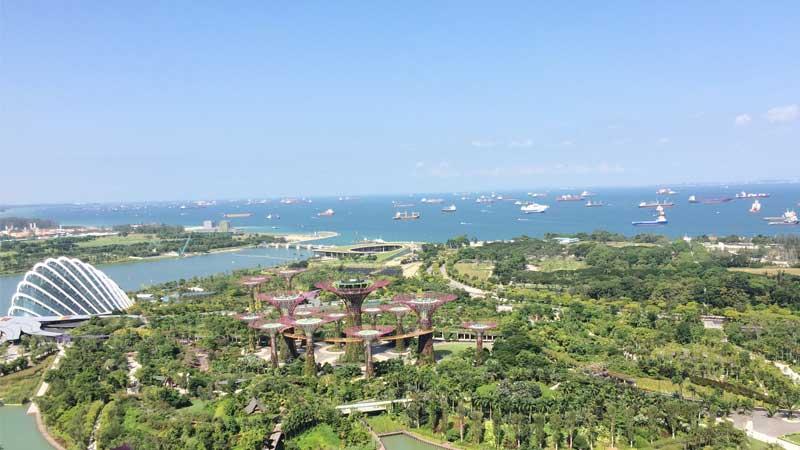マリーナベイサンズから見たシンガポール